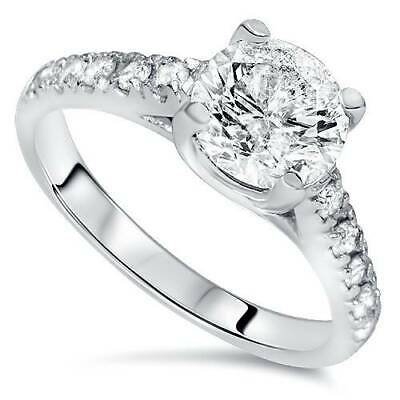 2 1/5ct Round Cut Diamond Solitaire Engagement Ring 14K White Gold Enhanced