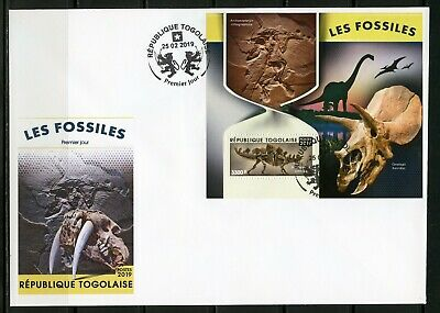 Togo 2019  Fossils  Souvenir Sheet  First Day Cover