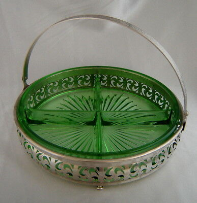 Vintage GREEN DEPRESSION GLASS Divided Relish/Nut Dish w/ Chrome Basket Caddy