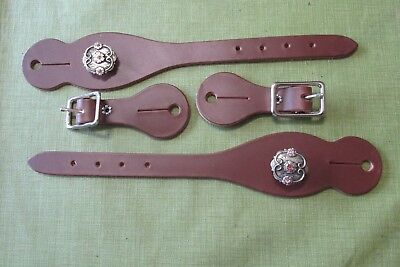 Leather Spur Straps Brown engraved silver concho pink rhinestone accents