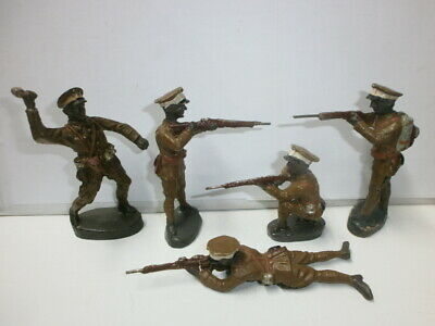 Convolute 5 Old Hausser Elastolin Ground Soldiers Abyssinian Fighting 7.5 Cm