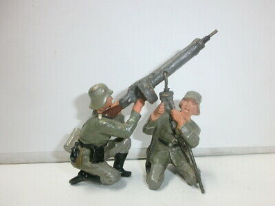 Convolute 2 Old Lineol Ground Soldiers Fliegerabwehr with Lmg