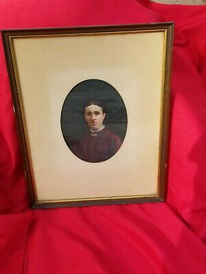 Antique 1887 french oil portrait painting of madame Auguste Polissard Framed
