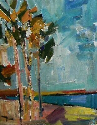 Jose Trujillo Oil Painting Modern Impressionism Fauvism Original Palm Trees Nr