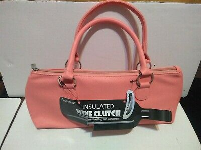 New Primeware Pink Peach Insulated Wine Bottle Clutch Holder without Corkscrew