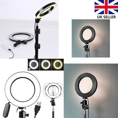LED Ring Light Studio Photo Video Dimmable Lamp Tripod Selfie Camera Phone 16CM