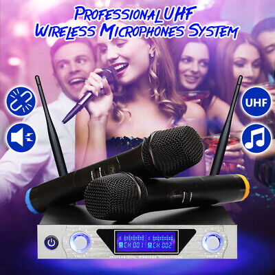 ARCHEER Professional Wireless LCD Dual Channel UHF 2 Cordless Microphone System