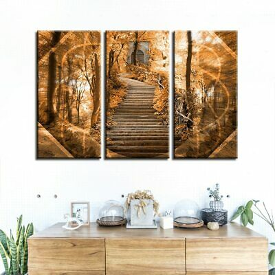3 Panel Psychedelic Forest Stairway Modern Decor Canvas Wall Art HD Print