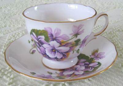 Ridway Potteries Royal Vale Violets Bone China Cup and Saucer Made in England