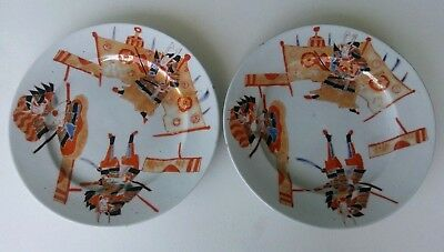 PAIR of ANTIQUE JAPANESE POTTERY PLATES - POLYCHROME SAMURAI WARRIORS