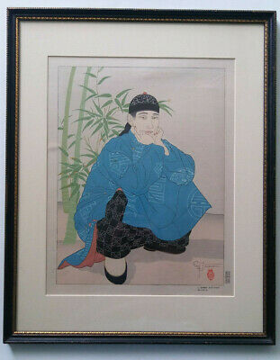 Paul Jacoulet - Original Signed Wood Block Print - L'homme Accroupi Chinois