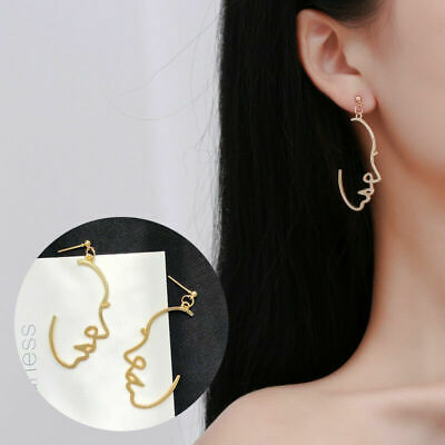 Hollow Plated Abstract Face Cutout Ear Stud Dangle Drop Earrings Jewelry Retro