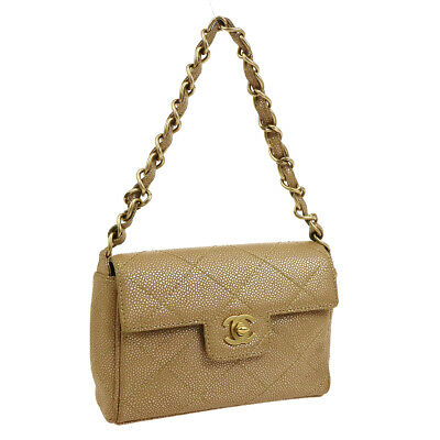 5c3066ceb6c886 Auth CHANEL Quilted CC Chain Hand Bag Beige Caviar Skin Leather Vintage  A43895