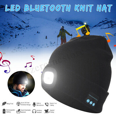 LED Light bluetooth Cap Knit Beanie Hat USB Rechargeable Hunting Camping Fishing