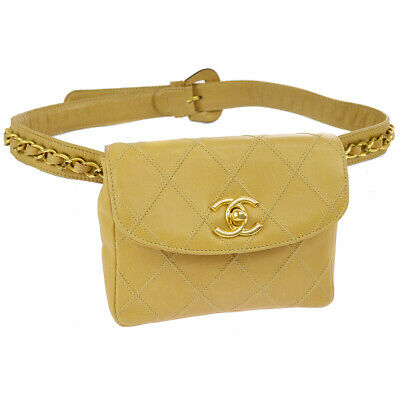44a704159118 Auth CHANEL Cosmos Quilted CC Chain Bum Bag Waist Pouch Beige Leather  AK32085