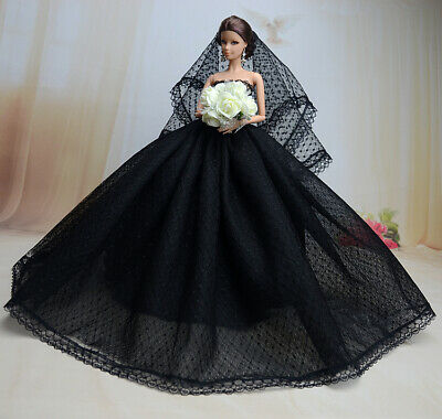 Handmade Princess Black Dress Party dress Clothes Outfit For Barbie Doll JX8