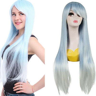 Women Girls Synthetic Long Straight Grey Mixed Colors Wigs Party Cosplay Wigs