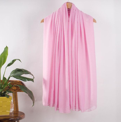 HOT SALE Spring Women Shawl Scarf Pashmina Hijab Wrap Solid Color Pink