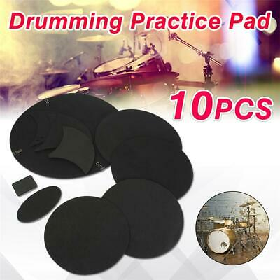 10pcs Mute Silencer Drumming Practice Pad Bass Drums Quiet Sound off Black