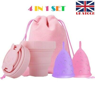 NEW 4in1 Pack REUSABLE Menstrual Cup Set with STERILIZING Cup N Storage Bag