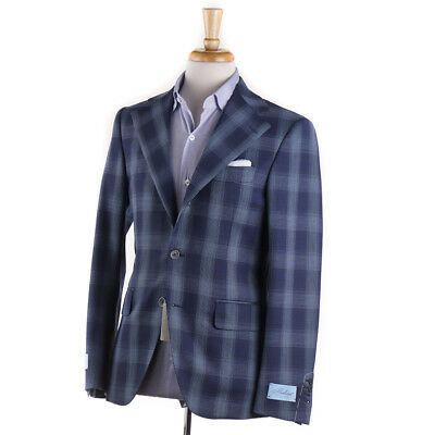NWT $1695 BELVEST Navy-Sky Blue Tonal Plaid Wool Sport Coat Slim 38 R (Eu 48)