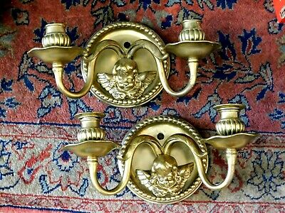 Pair of Antique French Cherub Gilt Bronze/Brass Sconces