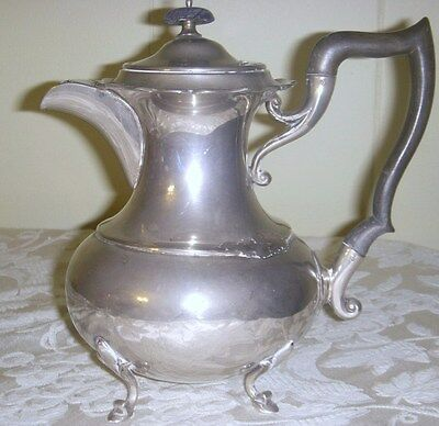 antique SILVERPLATE FOOTED TEAPOT with UNBREAKABLE HANDLE & WOOD FINIAL