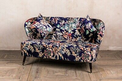 Floral Print Two Seater Patterned Sofa Mid Century Style Seating