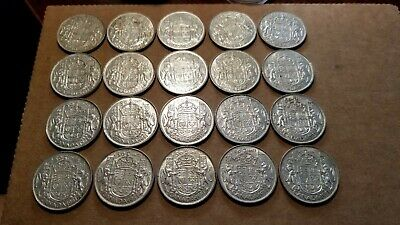 Lot Of 20 1951 Canada Silver 50 Cents