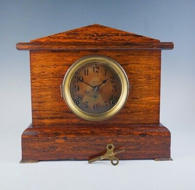 Antique 1890s Seth Thomas Wooden Celluloid Adamantine Wood Grain Mantel Clock