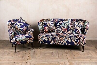 Floral Print Two Seater Patterned Sofa And Chair Set Mid Century Style Seating