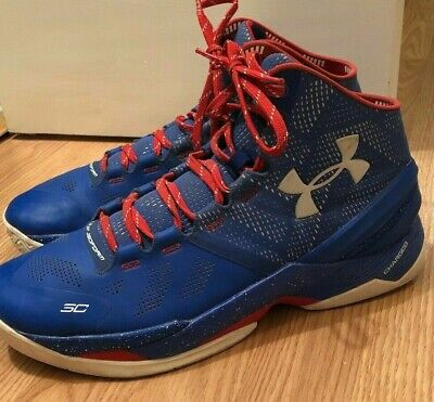 0c28935980de UNDER ARMOUR CURRY 2 Size 9.5 Men s High Top Red White And Blue Basketball  Shoes