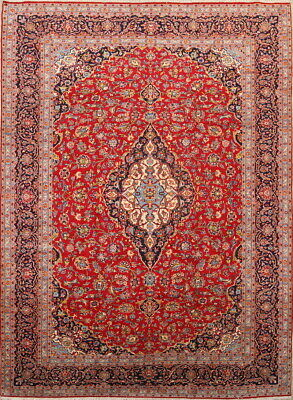 Vintage EXCELLENT Traditional Floral Persian Oriental Hand-Knotted 10x14 BIG Rug