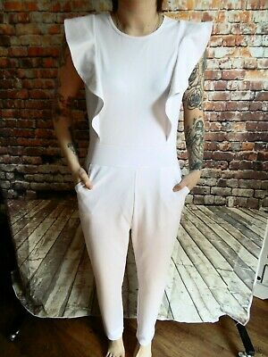 Ladies 80s Vintage White Jump Suit Playsuit SMALL (AA37) Plao Liang Fu Shi