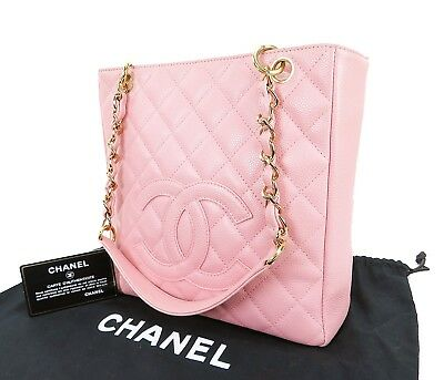 184ece135 Auth CHANEL Pink Quilted Caviar Skin Leather Gold Chain Shoulder Bag #15902