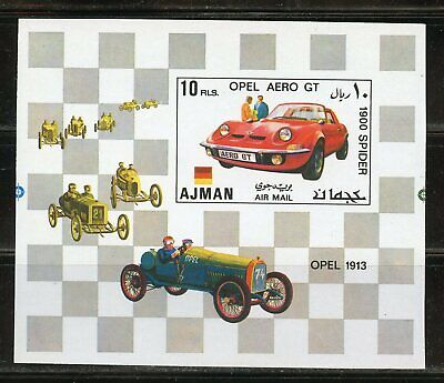 Ajman Opel 1913  Car  Proof Souvenir Sheet From Security Printer Mint