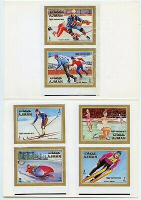 Ajman  Sapporo  Olympic  Proof Imperf Set(6) Mounted On Kultura Hungarian Folder