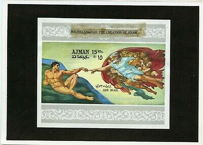 Ajman  Michelangelo  Proof Imperf S/s  Mounted On Kultura Hungarian Folder