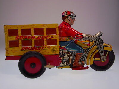 """Gsmoto *speed Boy Delivery"""" Tin Motorcycle Marx 1930 ?, Wind Up Ok, Very Good !"""