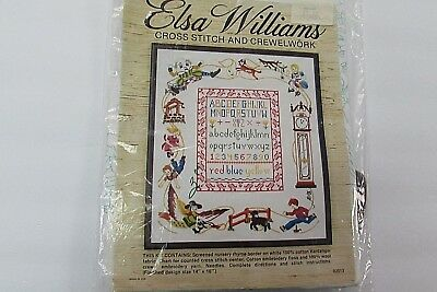 Vintage Elsa Williams Nursery Rhyme Sampler Crewel Cross Stitch Needlepoint Kit