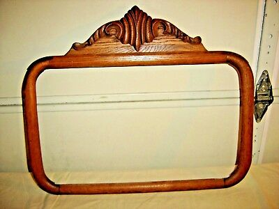Antique Oak Mirror Frame w/ Applied Carving  The frame has rounded corners 157