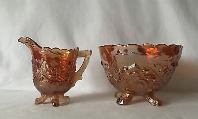 Vintage THISTLE & THORN Carnival Glass Creamer & Sugar Bowl Attrib to Sowerby