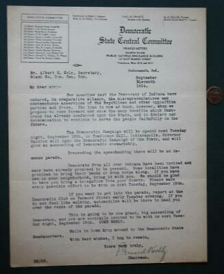 1914 Indiana Democratic State Central Committee typed party content letter-RARE*