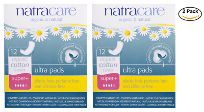 2PACK Natracare, Ultra Pads, Organic Cotton Cover, Super+, 12 Pads each