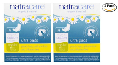 2PACK Natracare, Ultra Pads, Organic Cotton Cover, regular , 14 Pads each