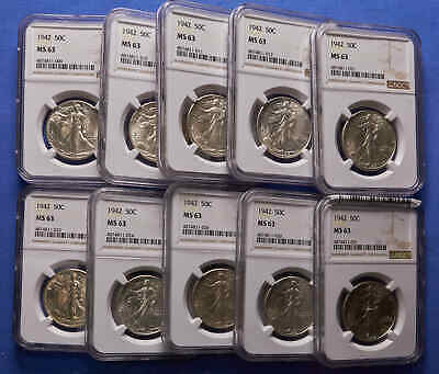 (Group of 10) 1942-P Walking Liberty Half Dollars All NGC MS 63 Sold Together.