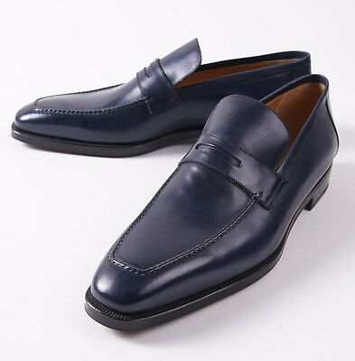 9d16ab7987c2b NIB $1295 SUTOR MANTELLASSI Navy Blue Calf Leather Penny Loafer US 14 D  Shoes