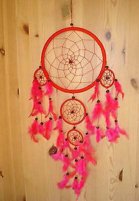Fair Trade Large multiple Red Dream Catcher Big Mobile stop nightmares Feathered