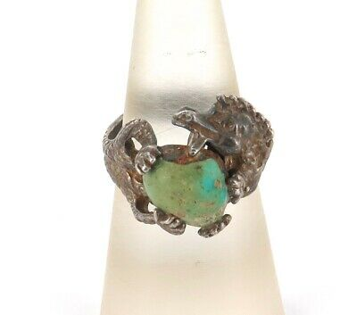 """Vintage American Indian Navajo Zuni """"Lizard"""" Sterling Silver & Turquoise Ring."""