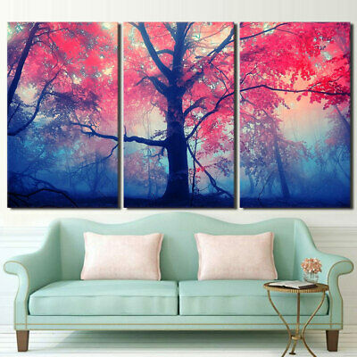 3 Panel Red Maple Trees in Fog Landscape Modern Decor Canvas Wall Art HD Print